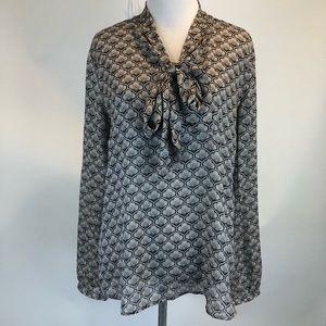 Loft Tie Neck Polyester Tunic Blouse SZ S